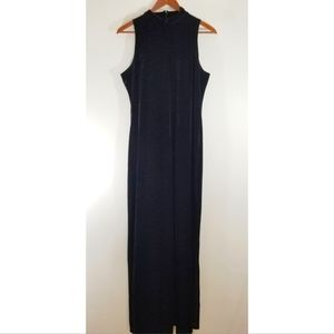 Vintage black velour mock neck maxi sheath dress